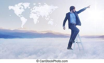 carte, image, mondiale, conceptuel, homme affaires, sur, nuage