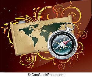 carte, image, vecteur, compas