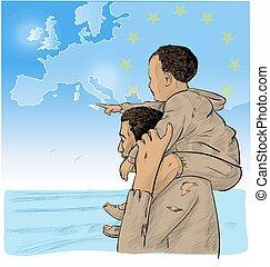 carte, immigrants, père, fils, devant, européen