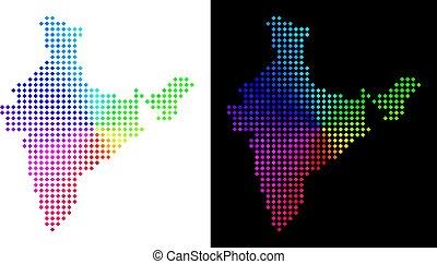 carte, inde, spectre, pixelated