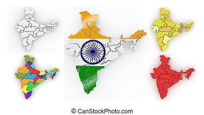 carte, india., tridimensionnel, 3d