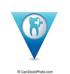 carte, indicateur, à, dentaire, clinique, icône