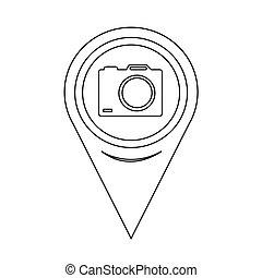 carte, indicateur, appareil photo, icône