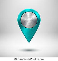 carte, indicateur, bouton, métal, texture, cyan, technologie