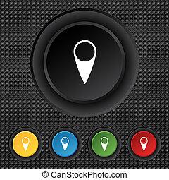 carte, indicateur, icon., gps, emplacement, symbole., ensemble, coloré, buttons.