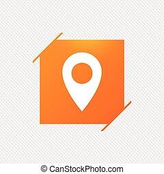 carte, indicateur, icon., gps, emplacement, symbole.