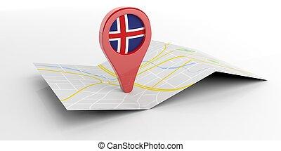 carte, indicateur, islande, 3d, blanc, illustration, arrière-plan.