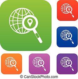 carte, indicateur, loupe, globe