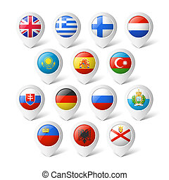 carte, indicateurs, à, flags., europe.