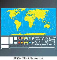 carte, indicateurs, flèches, marqueurs