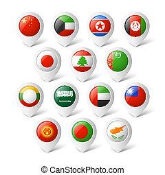 carte, indicateurs, flags., asia.