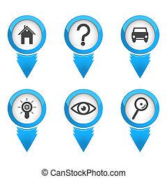 carte, indicateurs, fond blanc, icônes