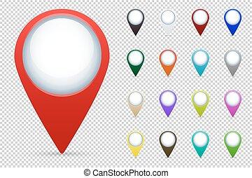 carte, indicateurs, vecteur, ensemble