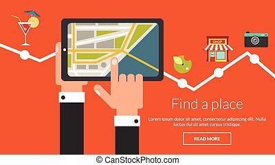 carte, informatique, tablette, beaucoup, vecteur, publicité, places.