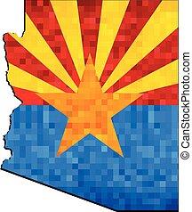 carte, intérieur, arizona, grunge, drapeau