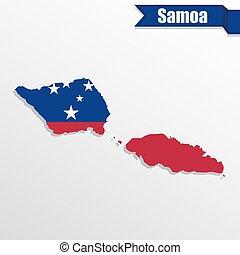 carte, intérieur, samoa, drapeau, ruban