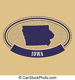 carte, iowa, timbre, -, ovale, silhouette