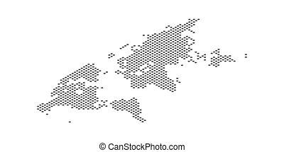 carte, isométrique, pointillé, effet, illustration, vecteur, mondiale