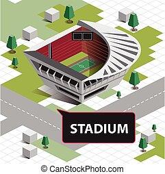 carte, isométrique, stade