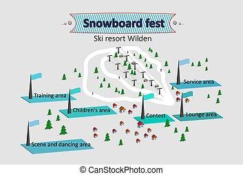 carte, isométrique, station sports hiver