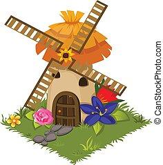 carte, isométrique, tileset, broyeur, -, jeu, village, moulin, fleurs, élément, dessin animé