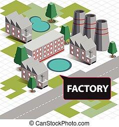 carte, isométrique, usine