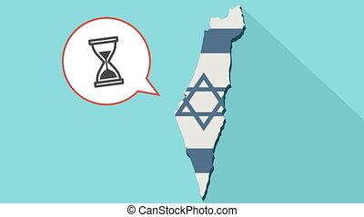 carte, israël, horloge, balloon, drapeau, long, sien, sable, animation, comique, ombre