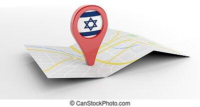 carte, israël, illustration, arrière-plan., blanc, indicateur, 3d