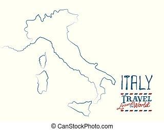carte, italie, main, fond, dessiné, blanc