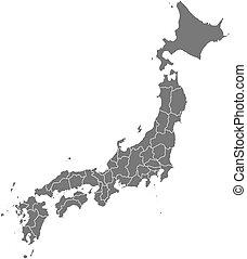 carte, -, japon