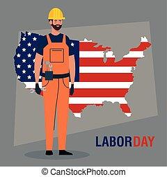 carte, jour main oeuvre, ouvrier construction, affiche, usa