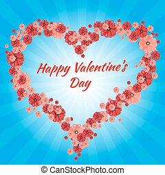 carte, jour, salutation, cœurs, heureux, valentin, s