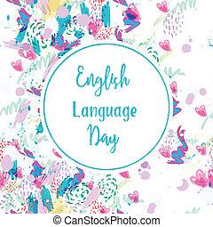 carte, jour, salutation, langue, anglaise