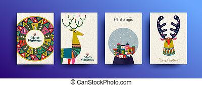 carte, joyeux, collection, folklorique, vendange, noël