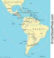 carte, latin, politique, amérique