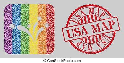 carte, lgbt, feux artifice, stencil, timbre, mosaïque, virus, usa, gratté