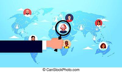 carte, location, business, candidat, gens, sur, main, verre, métier, choisir, position, mondiale, prise, magnifier