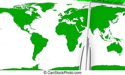 carte, -, (loop), mondiale, peinture, rouleau