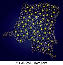 carte, lumière, polygonal, jaune, 2d, congo, république, taches, démocratique