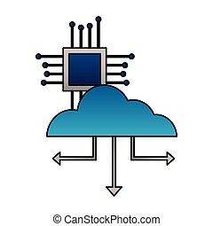 carte mère, connexion, nuage, calculer