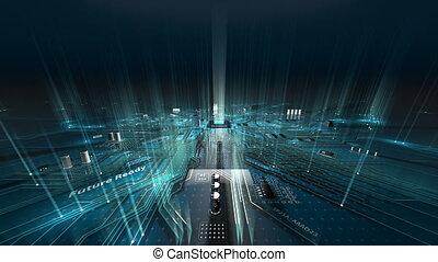 carte mère, en mouvement, résumé, électrons, circuit