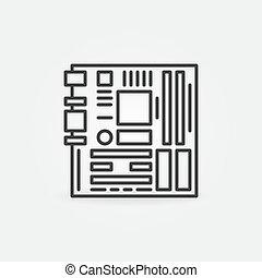 carte mère, icône, contour, concept, informatique, vecteur
