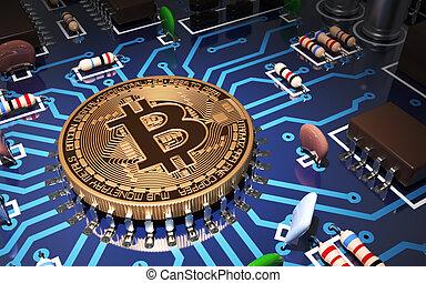 carte mère, unité centrale traitement, concept, aimer, bitcoin