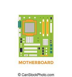 carte mère, vecteur, illustration