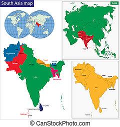 carte, méridional, asie