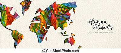carte, main, divers, humain, mondiale, bannière, jour, solidarité