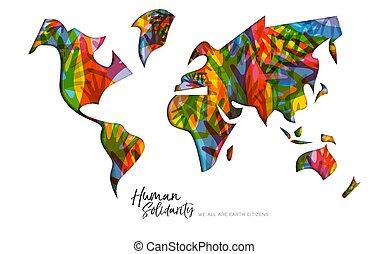 carte, main, divers, solidarité, humain, mondiale, jour, carte