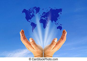 carte, mains, humain, tenue, mondiale