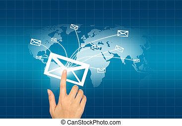 carte, mains, livraison, fond, courrier, mondiale