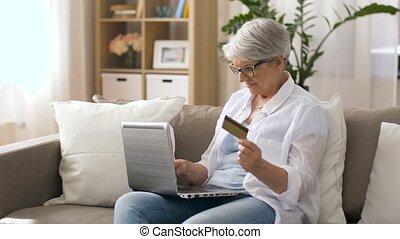 carte, maison, personne agee, ordinateur portable, crédit, ...